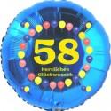 Luftballon aus Folie, 58. Geburtstag, Herzlichen Glückwunsch Ballons, blau, ohne Helium
