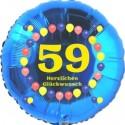 Luftballon aus Folie, 59. Geburtstag, Herzlichen Glückwunsch Ballons, blau, ohne Helium