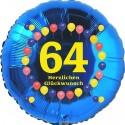 Luftballon aus Folie, 64. Geburtstag, Herzlichen Glückwunsch Ballons, blau, ohne Helium
