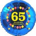 Luftballon aus Folie, 65. Geburtstag, Herzlichen Glückwunsch Ballons, blau, ohne Helium