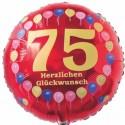 Luftballon aus Folie, 75. Geburtstag, Herzlichen Glückwunsch Ballons, rot, ohne Helium