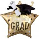 Jumbo 3D Luftballon aus Folie, Congrats Grad Star, ohne Helium/Ballongas zu Abitur und bestandener Prüfung