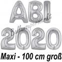Abi 2020, große Buchstaben-Luftballon aus Folie ohne Helium, Silber, zur Abiturfeier