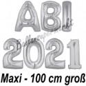 Abi 2021, große Buchstaben-Luftballon aus Folie mit Helium, Silber, zur Abiturfeier