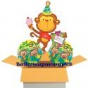 3 Geburtstags-Luftballons Happy Birthday Äffchen, inklusive Helium