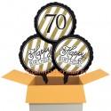 3 Luftballons, Black and Gold zum 70. Geburtstag