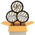 3 Luftballons, Black and Gold zum 90. Geburtstag