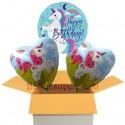 3 Luftballons zum Geburtstag, Einhorn, Happy Birthday, inklusive Ballongas
