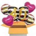 5 Geburtstags-Luftballons Pink and Gold Milestone Birthday 40, zum 40. Geburtstag mit Nachfüllbehälter, inklusive Helium