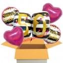 5 Geburtstags-Luftballons Pink and Gold Milestone Birthday 50, zum 50. Geburtstag mit Nachfüllbehälter, inklusive Helium