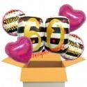 5 Geburtstags-Luftballons Pink and Gold Milestone Birthday 60, zum 60. Geburtstag mit Nachfüllbehälter, inklusive Helium