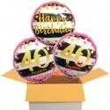 3 Luftballons, Pink & Gold Milestone Birthday zum 40. Geburtstag