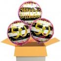 3 Luftballons, Pink & Gold Milestone Birthday zum 50. Geburtstag