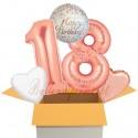 5 Geburtstags-Luftballons Sparkling Fizz  Birthday Rosegold 18, zum 18. Geburtstag, inklusive Helium