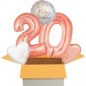5 Geburtstags-Luftballons Sparkling Fizz  Birthday Rosegold 20, zum 20. Geburtstag, inklusive Helium