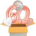 5 Geburtstags-Luftballons Sparkling Fizz  Birthday Rosegold 60, zum 60. Geburtstag, inklusive Helium