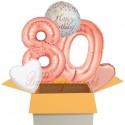 5 Geburtstags-Luftballons Sparkling Fizz  Birthday Rosegold 80, zum 80. Geburtstag, inklusive Helium