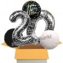 5 Geburtstags-Luftballons Sparkling Celebration Birthday Silver Dots 20, zum 20. Geburtstag, inklusive Helium