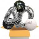 5 Geburtstags-Luftballons Sparkling Celebration Birthday Silver Dots 40, zum 40. Geburtstag, inklusive Helium