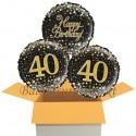 3 Luftballons, Sparkling Fizz Birthday Gold 40 zum 40. Geburtstag