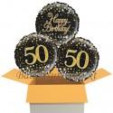 3 Luftballons, Sparkling Fizz Birthday Gold 50 zum 50. Geburtstag