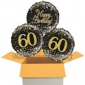 3 Luftballons, Sparkling Fizz Birthday Gold 60 zum 60. Geburtstag
