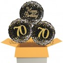 3 Luftballons, Sparkling Fizz Birthday Gold 70 zum 70. Geburtstag