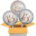 3 Luftballons, Sparkling Fizz Birthday Rosegold 18 zum 18. Geburtstag
