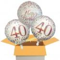 3 Luftballons, Sparkling Fizz Birthday Rosegold 40 zum 40. Geburtstag