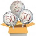 3 Luftballons, Sparkling Fizz Birthday Rosegold 50 zum 50. Geburtstag
