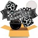 5 Geburtstags-Luftballons Elegant Birthday 50, zum 50. Geburtstag, inklusive Helium