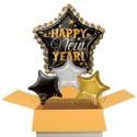 Silvester-Bouquet, Happy New Year Stars, 4 Folienballons mit Helium, Silvesterdekoration