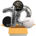5 Geburtstags-Luftballons Sparkling Celebration Herzlichen Glückwunsch Silver Dots 70, zum 70. Geburtstag, inklusive Helium