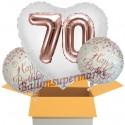 3 Geburtstags-Luftballons Jumbo 3D Sparkling Fizz Birthday Rosegold 70, zum 70. Geburtstag mit Nachfüllbehälter, inklusive Helium