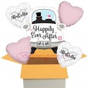 5 Luftballons zur Hochzeit, Mr. & Mrs. in Love Wedding Car mit Nachfüllbehälter, inklusive Helium