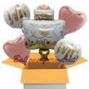 5 Luftballons zur Hochzeit, Mr. & Mrs. Wedding Cake mit Nachfüllbehälter, inklusive Helium