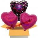 3 Luftballons Valentinsgrüße, Happy Valentines Day Pink Celebration, inklusive Ballongas