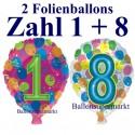 Zahlen-Luftballons aus Folie mit Helium, Zahlen 1 und 8, mit Helium, zum 18.Geburtstag