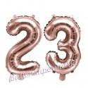 Zahlen-Luftballons aus Folie, Zahl 23 zum 23. Geburtstag und Jubiläum, Rosegold, 35 cm