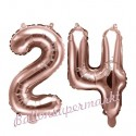 Zahlen-Luftballons aus Folie, Zahl 24 zum 24. Geburtstag und Jubiläum, Rosegold, 35 cm
