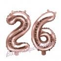 Zahlen-Luftballons aus Folie, Zahl 26 zum 26. Geburtstag und Jubiläum, Rosegold, 35 cm
