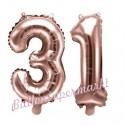 Zahlen-Luftballons aus Folie, Zahl 31 zum 31. Geburtstag und Jubiläum, Rosegold, 35 cm