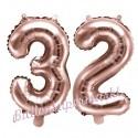 Zahlen-Luftballons aus Folie, Zahl 32 zum 32. Geburtstag und Jubiläum, Rosegold, 35 cm