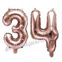 Zahlen-Luftballons aus Folie, Zahl 34 zum 34. Geburtstag und Jubiläum, Rosegold, 35 cm