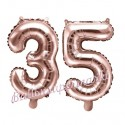 Zahlen-Luftballons aus Folie, Zahl 35 zum 35. Geburtstag und Jubiläum, Rosegold, 35 cm