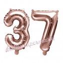 Zahlen-Luftballons aus Folie, Zahl 37 zum 37. Geburtstag und Jubiläum, Rosegold, 35 cm