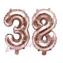 Zahlen-Luftballons aus Folie, Zahl 38 zum 38. Geburtstag und Jubiläum, Rosegold, 35 cm