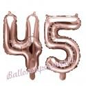 Zahlen-Luftballons aus Folie, Zahl 45 zum 45. Geburtstag und Jubiläum, Rosegold, 35 cm