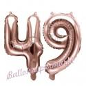 Zahlen-Luftballons aus Folie, Zahl 49 zum 49. Geburtstag und Jubiläum, Rosegold, 35 cm