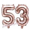 Zahlen-Luftballons aus Folie, Zahl 53 zum 53. Geburtstag und Jubiläum, Rosegold, 35 cm
